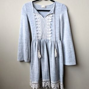 Altar'd State Gray Embroidered Lace Tassel Dress